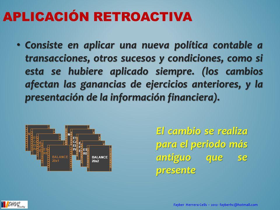 Fayber Herrera Celis – 2012- fayberhc@hotmail.com APLICACIÓN RETROACTIVA Consiste en aplicar una nueva política contable a transacciones, otros suceso
