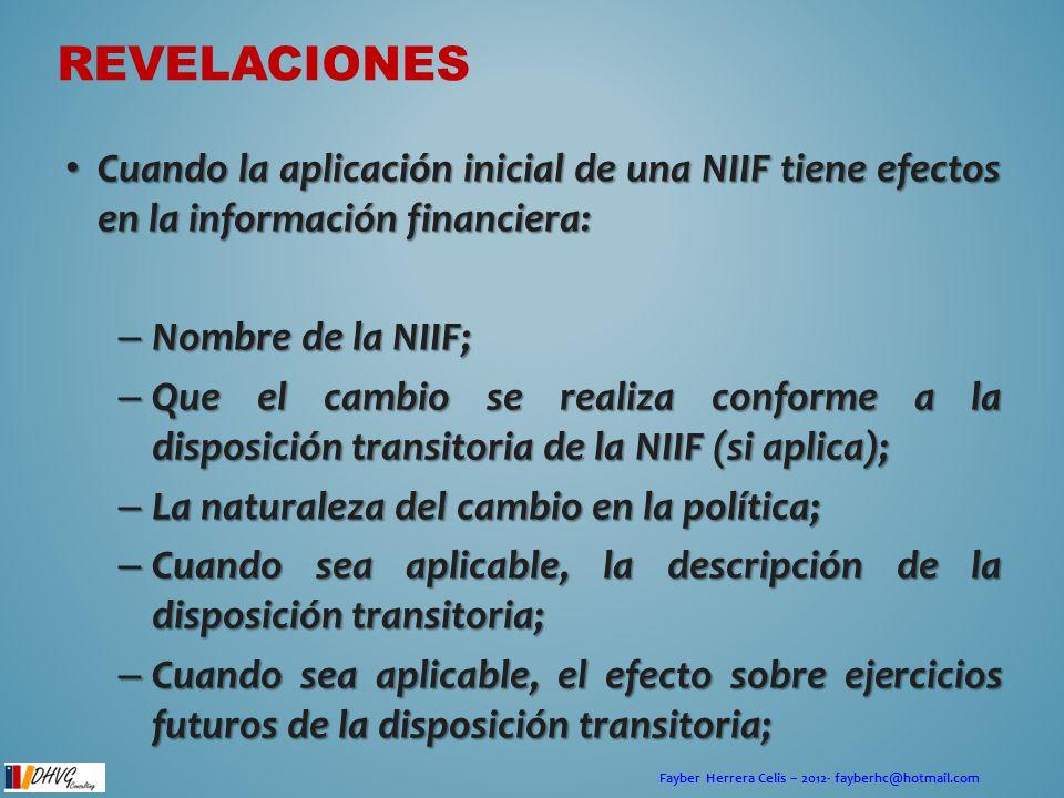 Fayber Herrera Celis – 2012- fayberhc@hotmail.com REVELACIONES Cuando la aplicación inicial de una NIIF tiene efectos en la información financiera: Cu