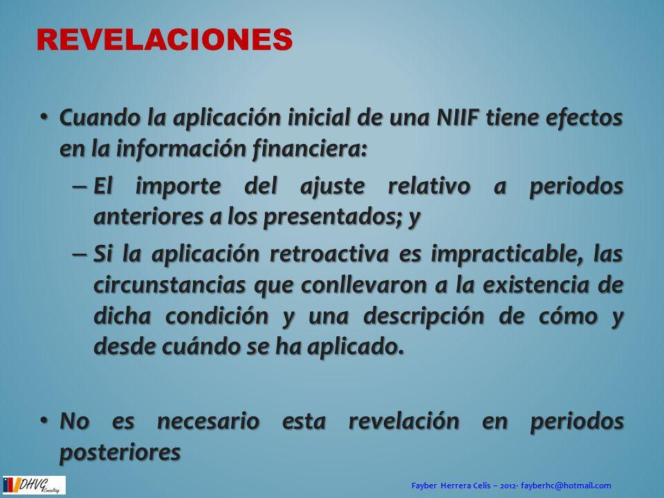 Fayber Herrera Celis – 2012- fayberhc@hotmail.com Cuando la aplicación inicial de una NIIF tiene efectos en la información financiera: Cuando la aplic