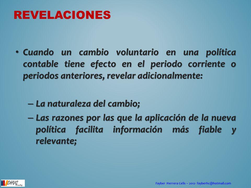 Fayber Herrera Celis – 2012- fayberhc@hotmail.com Cuando un cambio voluntario en una política contable tiene efecto en el periodo corriente o periodos