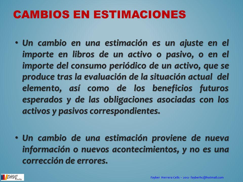 Fayber Herrera Celis – 2012- fayberhc@hotmail.com CAMBIOS EN ESTIMACIONES Un cambio en una estimación es un ajuste en el importe en libros de un activ
