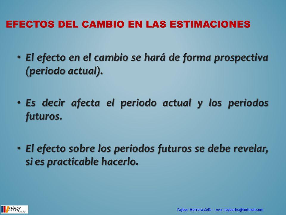 Fayber Herrera Celis – 2012- fayberhc@hotmail.com EFECTOS DEL CAMBIO EN LAS ESTIMACIONES El efecto en el cambio se hará de forma prospectiva (periodo