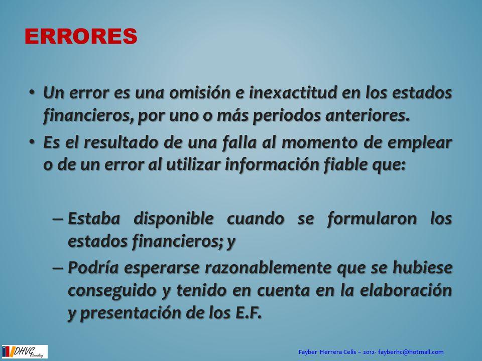 Fayber Herrera Celis – 2012- fayberhc@hotmail.com ERRORES Un error es una omisión e inexactitud en los estados financieros, por uno o más periodos ant
