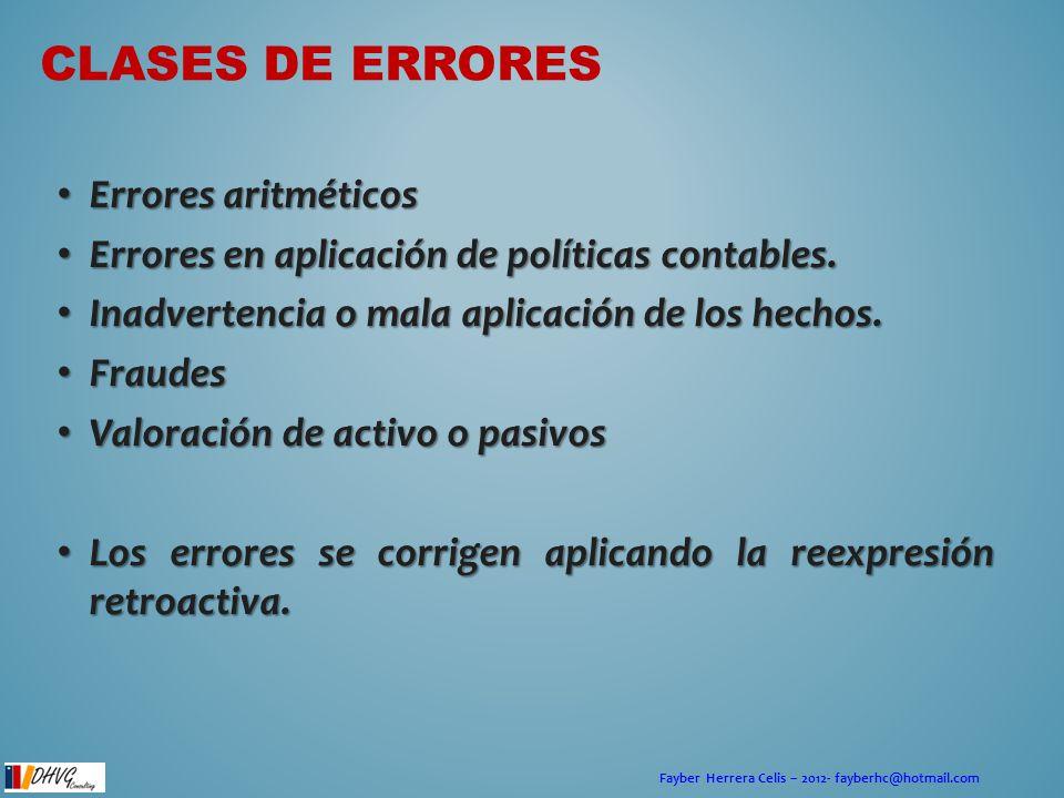 Fayber Herrera Celis – 2012- fayberhc@hotmail.com CLASES DE ERRORES Errores aritméticos Errores aritméticos Errores en aplicación de políticas contabl