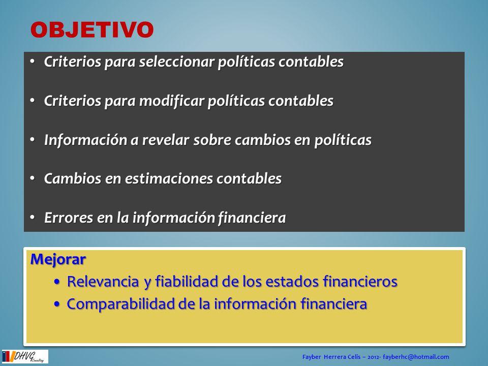 Fayber Herrera Celis – 2012- fayberhc@hotmail.com ALCANCE Esta norma se aplicará en la selección y aplicación de políticas contables, así como en los registros contables de los cambios en las políticas, en estimaciones contables, y en la corrección de errores de periodos anteriores.