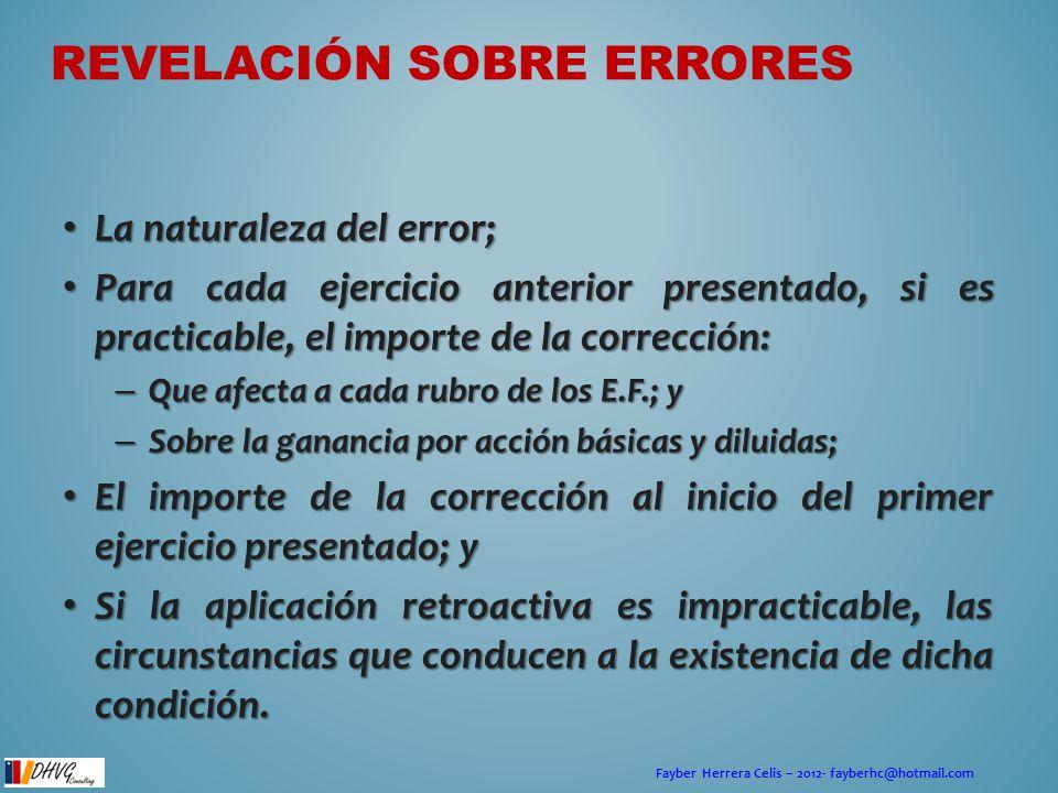 Fayber Herrera Celis – 2012- fayberhc@hotmail.com REVELACIÓN SOBRE ERRORES La naturaleza del error; La naturaleza del error; Para cada ejercicio anter