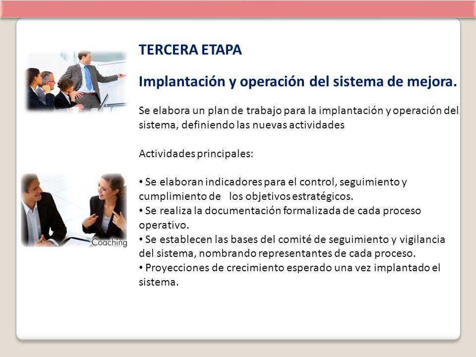 TERCERA ETAPA Implantación y operación del sistema de mejora. Se elabora un plan de trabajo para la implantación y operación del sistema, definiendo l