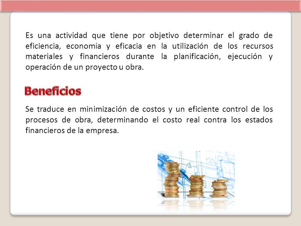 Es una actividad que tiene por objetivo determinar el grado de eficiencia, economía y eficacia en la utilización de los recursos materiales y financie