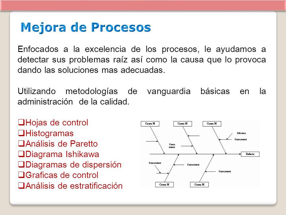 Enfocados a la excelencia de los procesos, le ayudamos a detectar sus problemas raíz así como la causa que lo provoca dando las soluciones mas adecuad