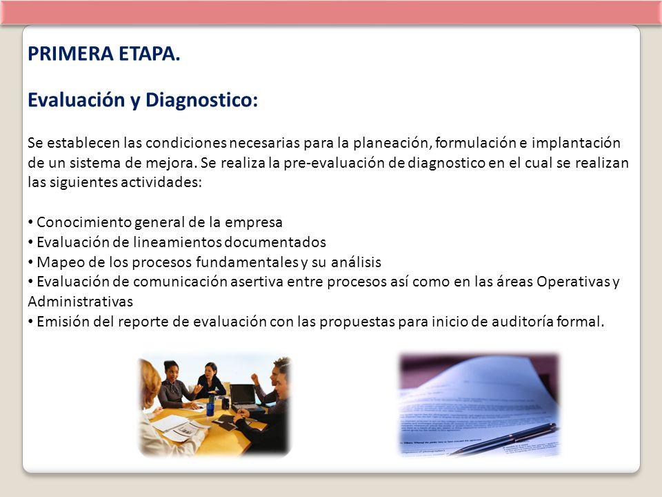 PRIMERA ETAPA. Evaluación y Diagnostico: Se establecen las condiciones necesarias para la planeación, formulación e implantación de un sistema de mejo