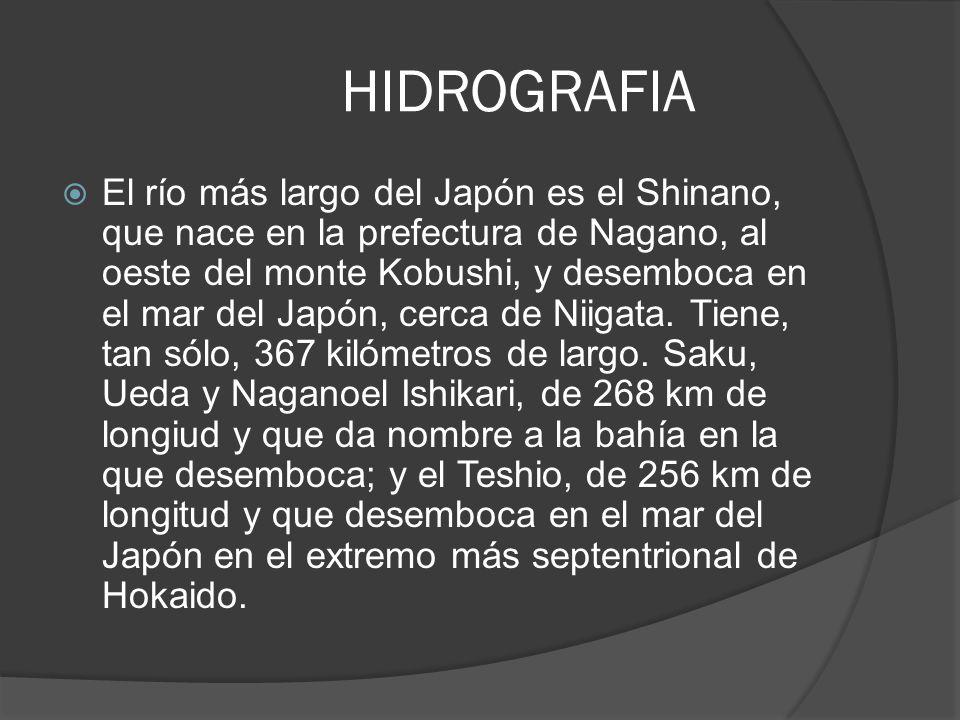 HIDROGRAFIA El río más largo del Japón es el Shinano, que nace en la prefectura de Nagano, al oeste del monte Kobushi, y desemboca en el mar del Japón