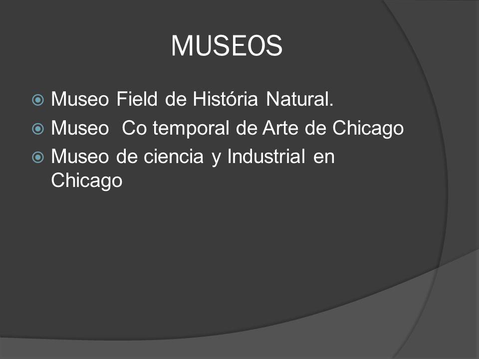 MUSEOS Museo Field de História Natural. Museo Co temporal de Arte de Chicago Museo de ciencia y Industrial en Chicago