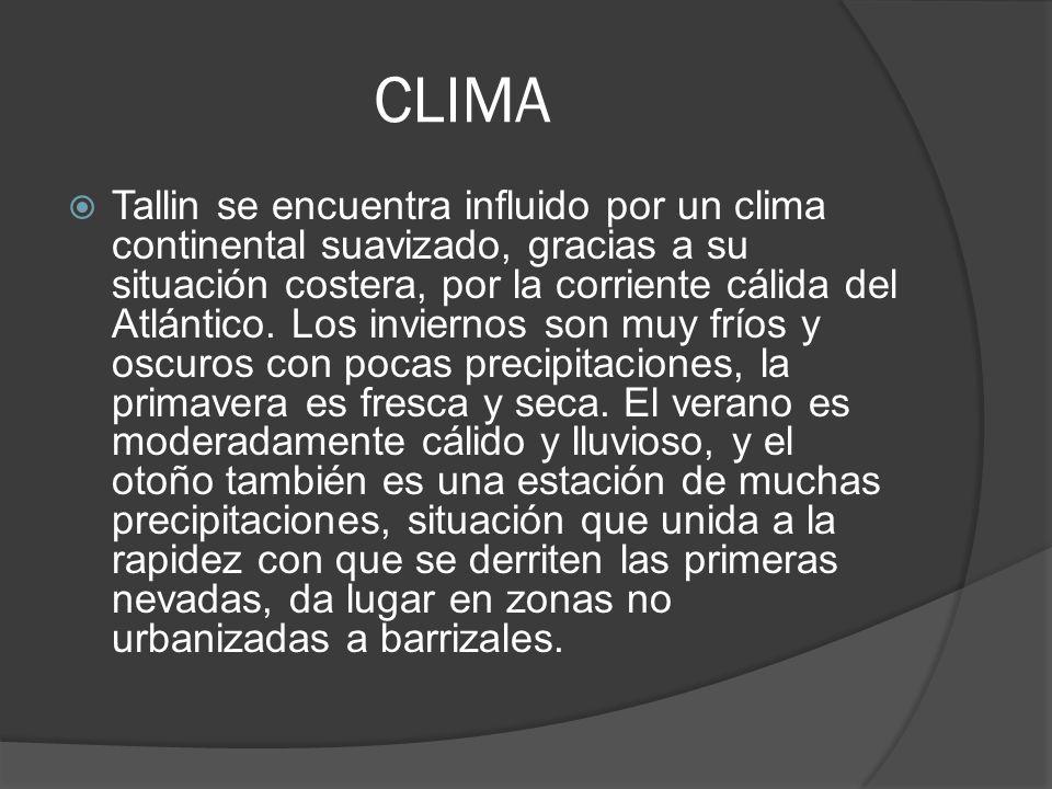 CLIMA Tallin se encuentra influido por un clima continental suavizado, gracias a su situación costera, por la corriente cálida del Atlántico. Los invi