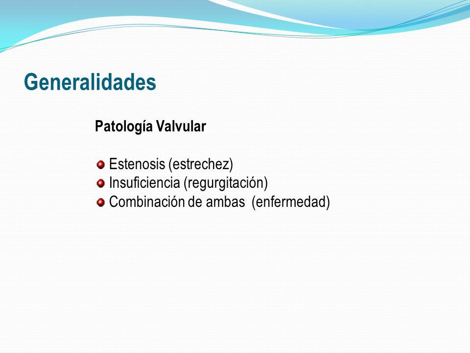 Generalidades Patología Valvular Estenosis (estrechez) Insuficiencia (regurgitación) Combinación de ambas (enfermedad)