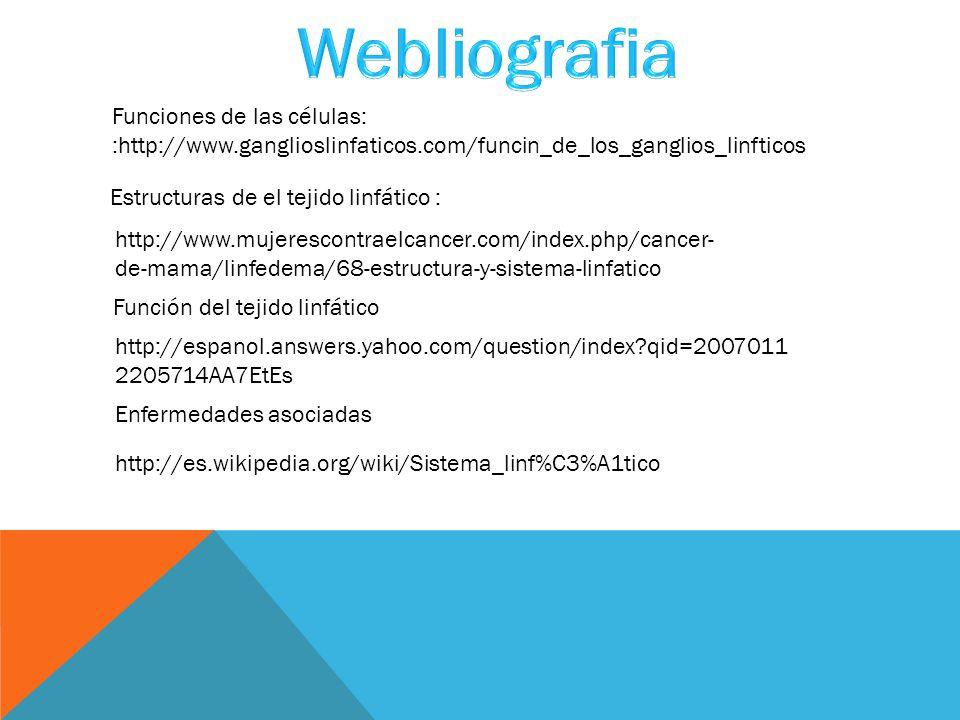 Funciones de las células: :http://www.ganglioslinfaticos.com/funcin_de_los_ganglios_linfticos Estructuras de el tejido linfático : http://www.mujerescontraelcancer.com/index.php/cancer- de-mama/linfedema/68-estructura-y-sistema-linfatico Función del tejido linfático http://espanol.answers.yahoo.com/question/index?qid=2007011 2205714AA7EtEs Enfermedades asociadas http://es.wikipedia.org/wiki/Sistema_linf%C3%A1tico