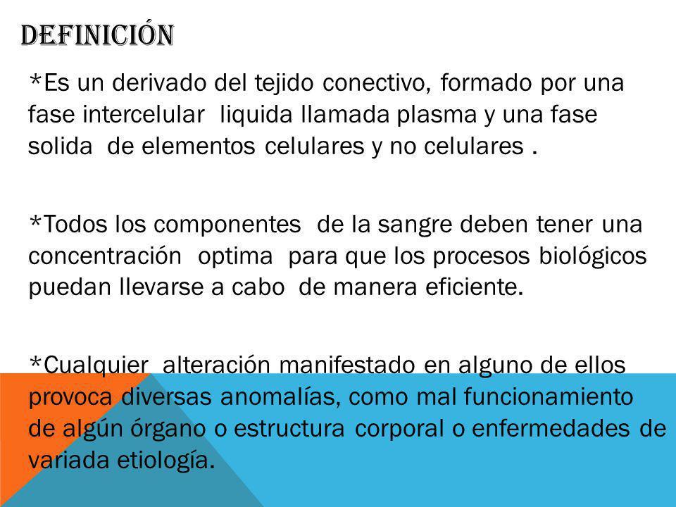 DEFINICIÓN *Es un derivado del tejido conectivo, formado por una fase intercelular liquida llamada plasma y una fase solida de elementos celulares y n