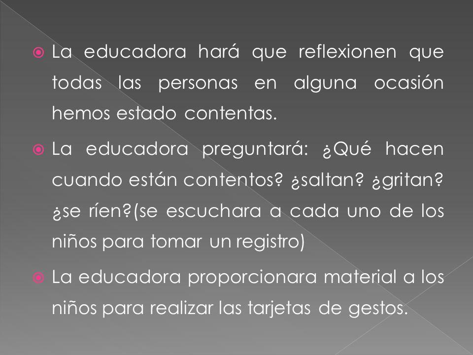 La educadora hará que reflexionen que todas las personas en alguna ocasión hemos estado contentas. La educadora preguntará: ¿Qué hacen cuando están co