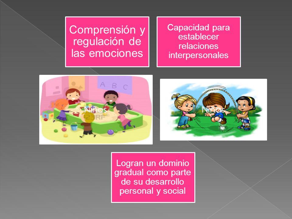 Comprensión y regulación de las emociones Capacidad para establecer relaciones interpersonales Niños Niñas Logran un dominio gradual como parte de su
