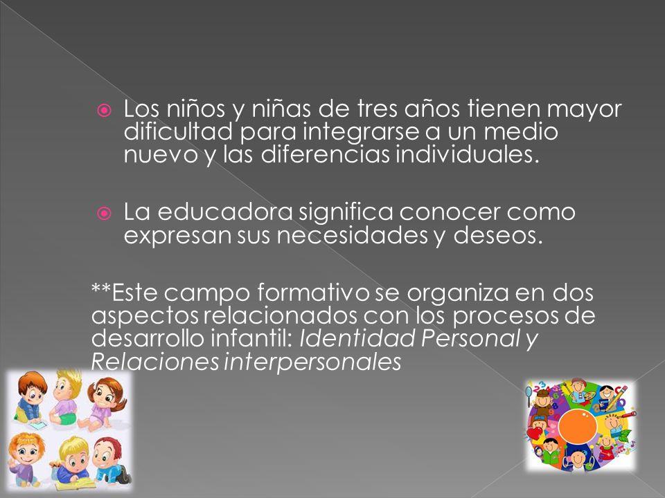 Los niños y niñas de tres años tienen mayor dificultad para integrarse a un medio nuevo y las diferencias individuales. La educadora significa conocer