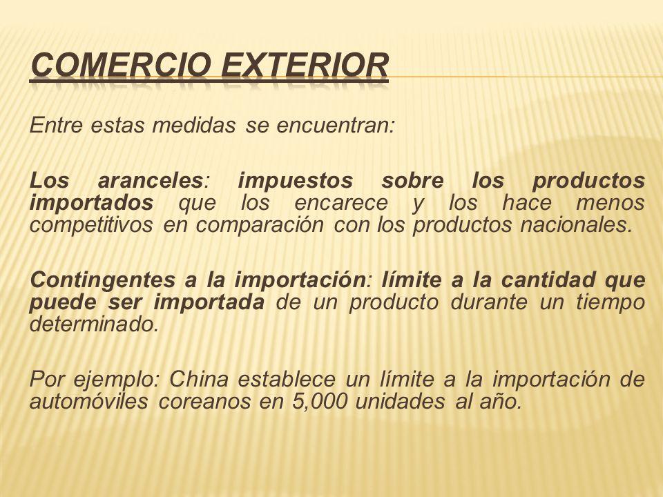 Entre estas medidas se encuentran: Los aranceles: impuestos sobre los productos importados que los encarece y los hace menos competitivos en comparaci