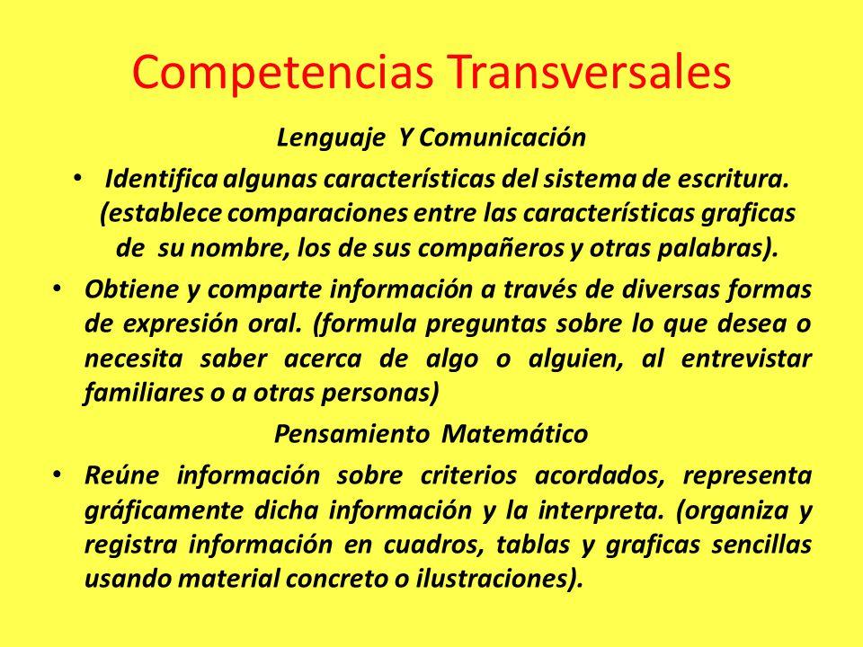 Competencias Transversales Lenguaje Y Comunicación Identifica algunas características del sistema de escritura. (establece comparaciones entre las car