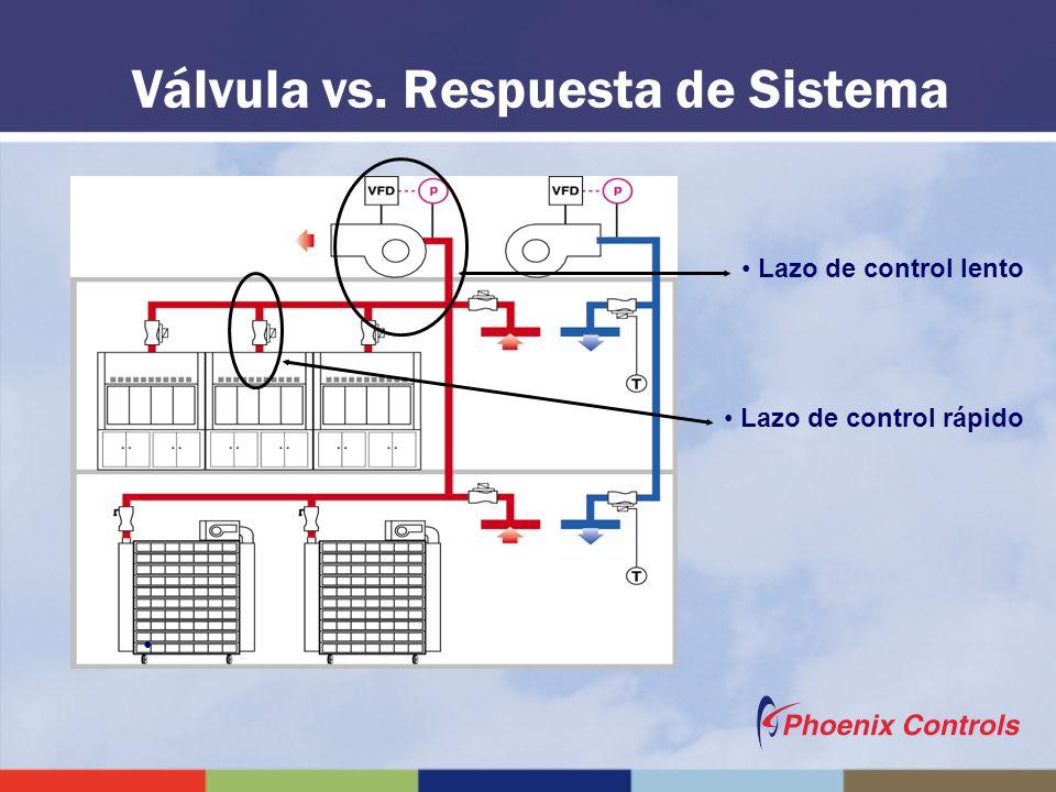 Válvula vs. Respuesta de Sistema Lazo de control rápido Lazo de control lento