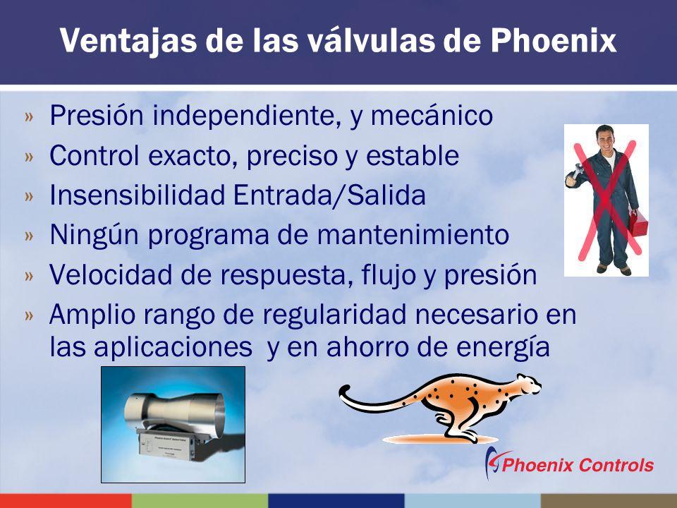 Ventajas de las válvulas de Phoenix »Presión independiente, y mecánico »Control exacto, preciso y estable »Insensibilidad Entrada/Salida »Ningún progr
