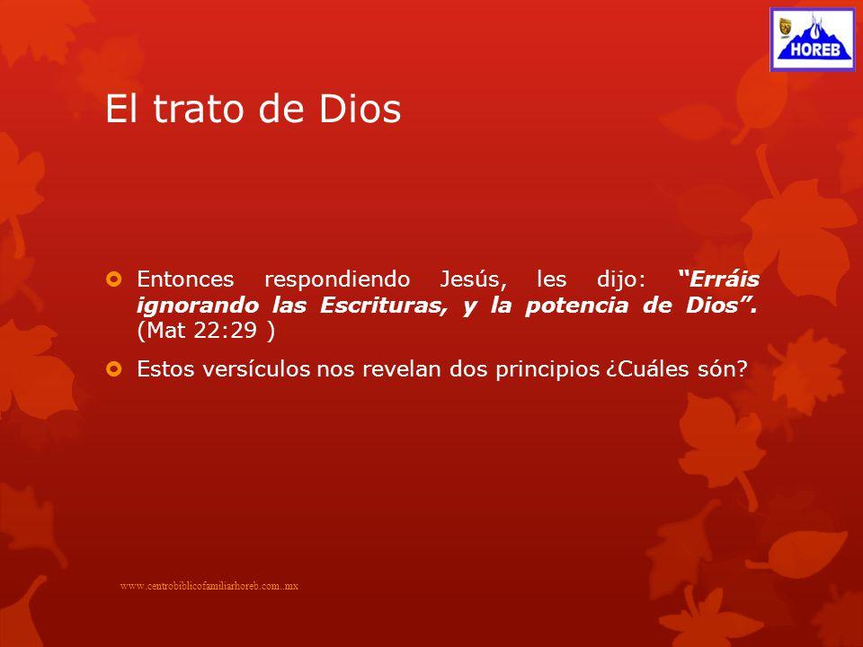 El trato de Dios Entonces respondiendo Jesús, les dijo: Erráis ignorando las Escrituras, y la potencia de Dios.