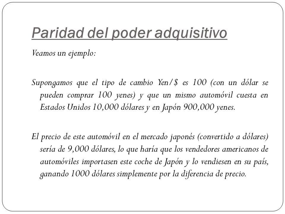 Paridad del poder adquisitivo Veamos un ejemplo: Supongamos que el tipo de cambio Yen/$ es 100 (con un dólar se pueden comprar 100 yenes) y que un mis