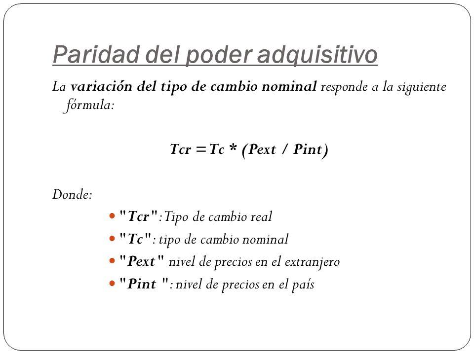 Paridad del poder adquisitivo La variación del tipo de cambio nominal responde a la siguiente fórmula: Tcr = Tc * (Pext / Pint) Donde: