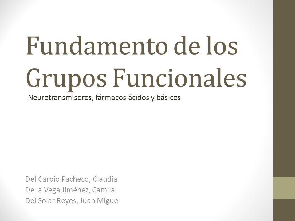 Fundamento de los Grupos Funcionales Del Carpio Pacheco, Claudia De la Vega Jiménez, Camila Del Solar Reyes, Juan Miguel Neurotransmisores, fármacos á