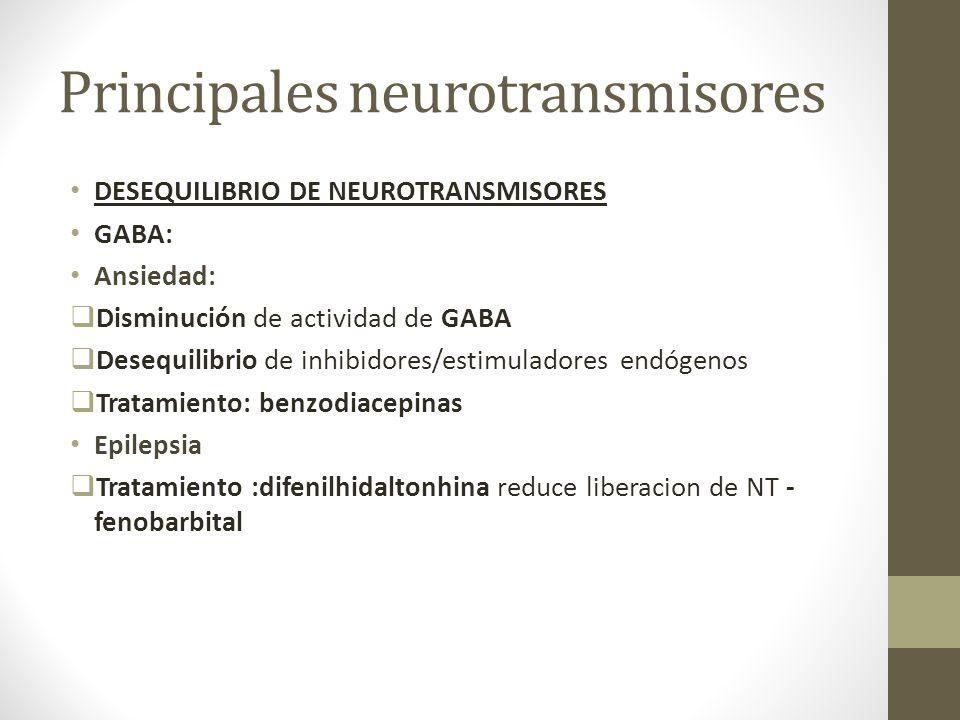 Principales neurotransmisores DESEQUILIBRIO DE NEUROTRANSMISORES GABA: Ansiedad: Disminución de actividad de GABA Desequilibrio de inhibidores/estimul
