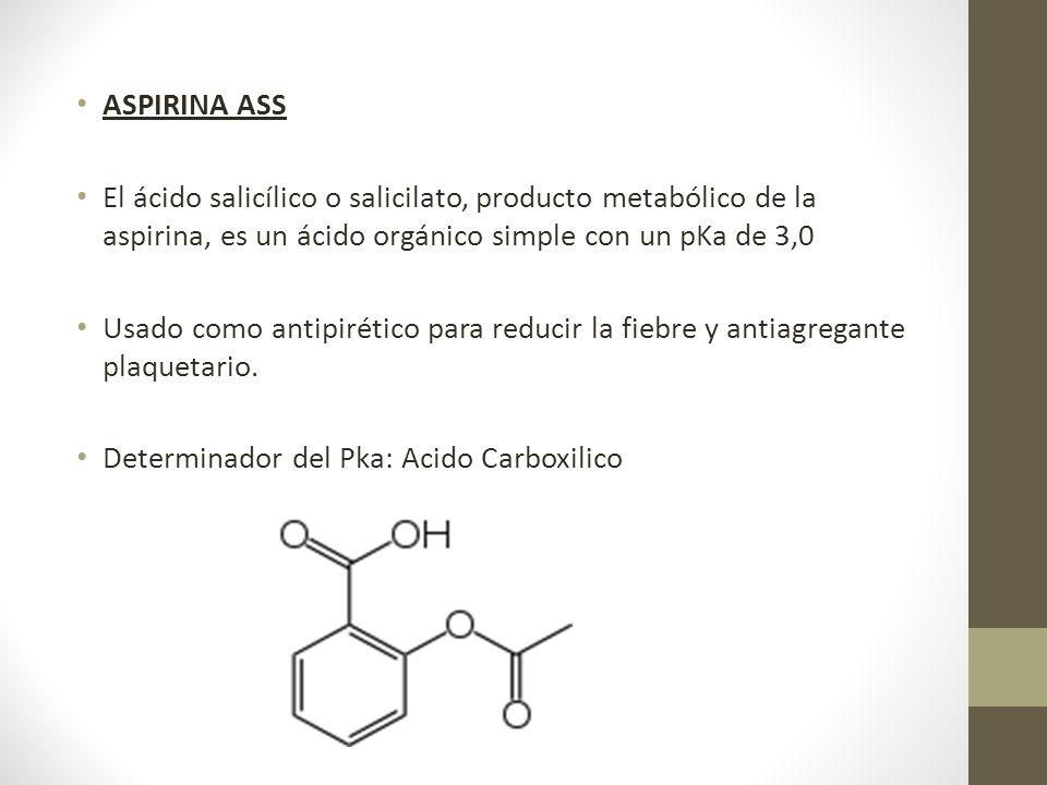 ASPIRINA ASS El ácido salicílico o salicilato, producto metabólico de la aspirina, es un ácido orgánico simple con un pKa de 3,0 Usado como antipiréti