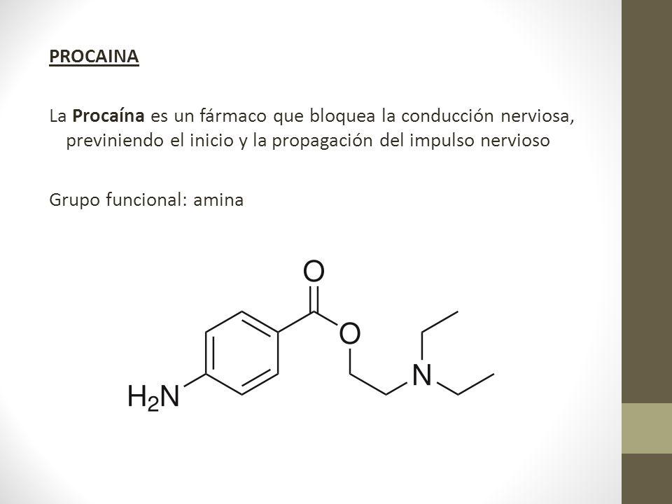 PROCAINA La Procaína es un fármaco que bloquea la conducción nerviosa, previniendo el inicio y la propagación del impulso nervioso Grupo funcional: am