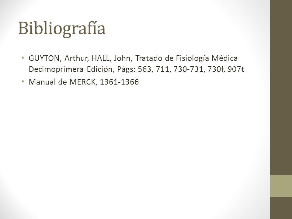 Bibliografía GUYTON, Arthur, HALL, John, Tratado de Fisiología Médica Decimoprimera Edición, Págs: 563, 711, 730-731, 730f, 907t Manual de MERCK, 1361