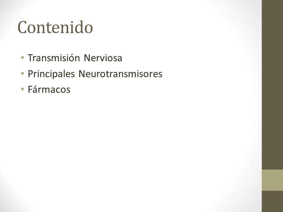 Contenido Transmisión Nerviosa Principales Neurotransmisores Fármacos