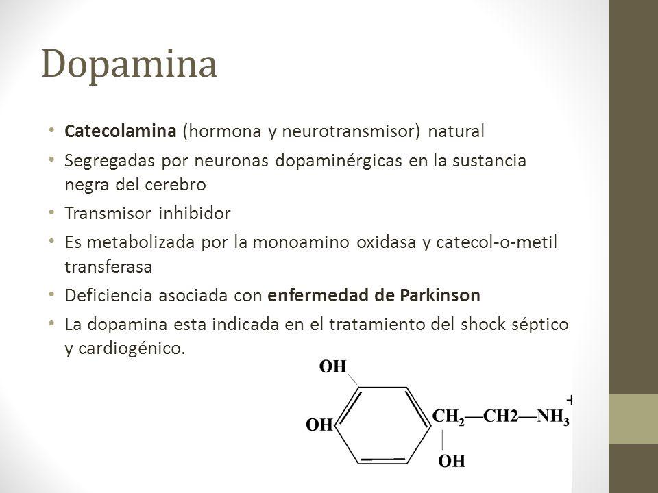 Dopamina Catecolamina (hormona y neurotransmisor) natural Segregadas por neuronas dopaminérgicas en la sustancia negra del cerebro Transmisor inhibido