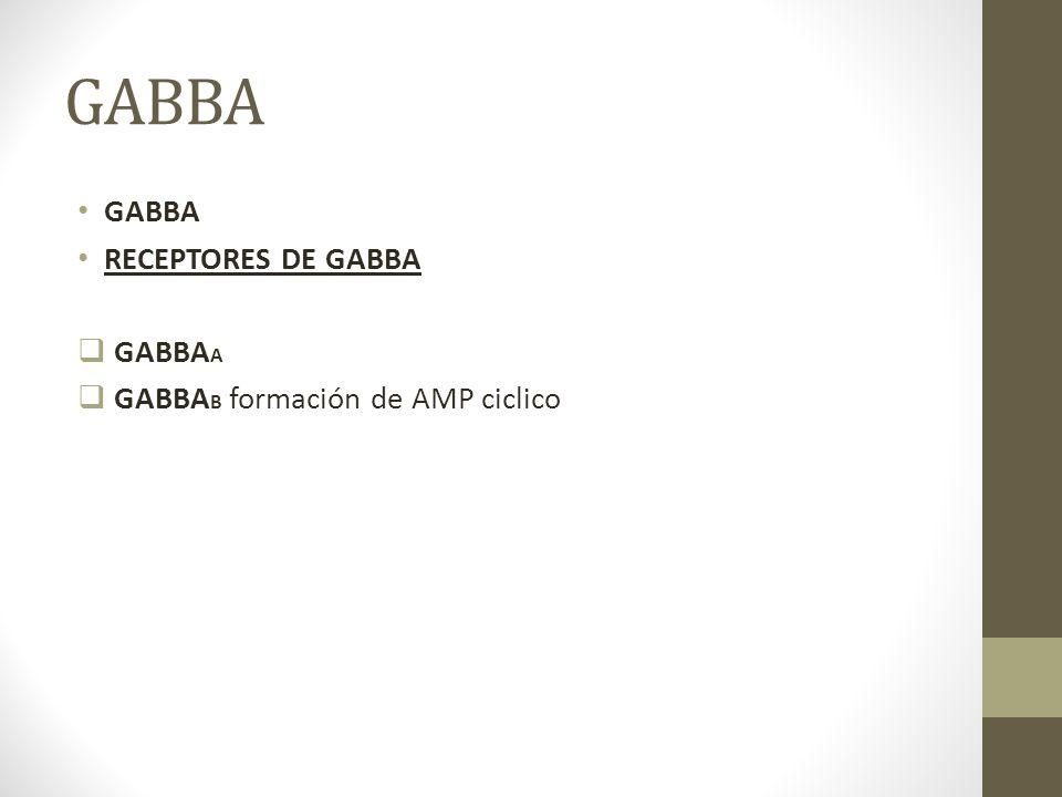 GABBA RECEPTORES DE GABBA GABBA A GABBA B formación de AMP ciclico