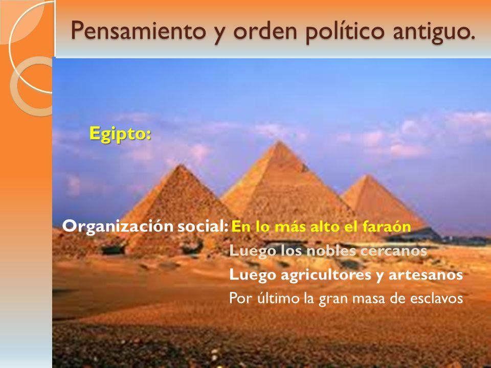 Pensamiento y orden político antiguo. Egipto: Organización social: En lo más alto el faraón Luego los nobles cercanos Luego agricultores y artesanos P
