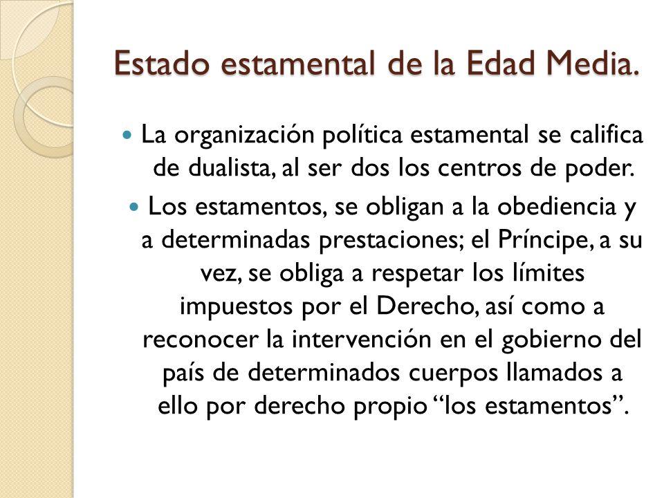 La organización política estamental se califica de dualista, al ser dos los centros de poder. Los estamentos, se obligan a la obediencia y a determina
