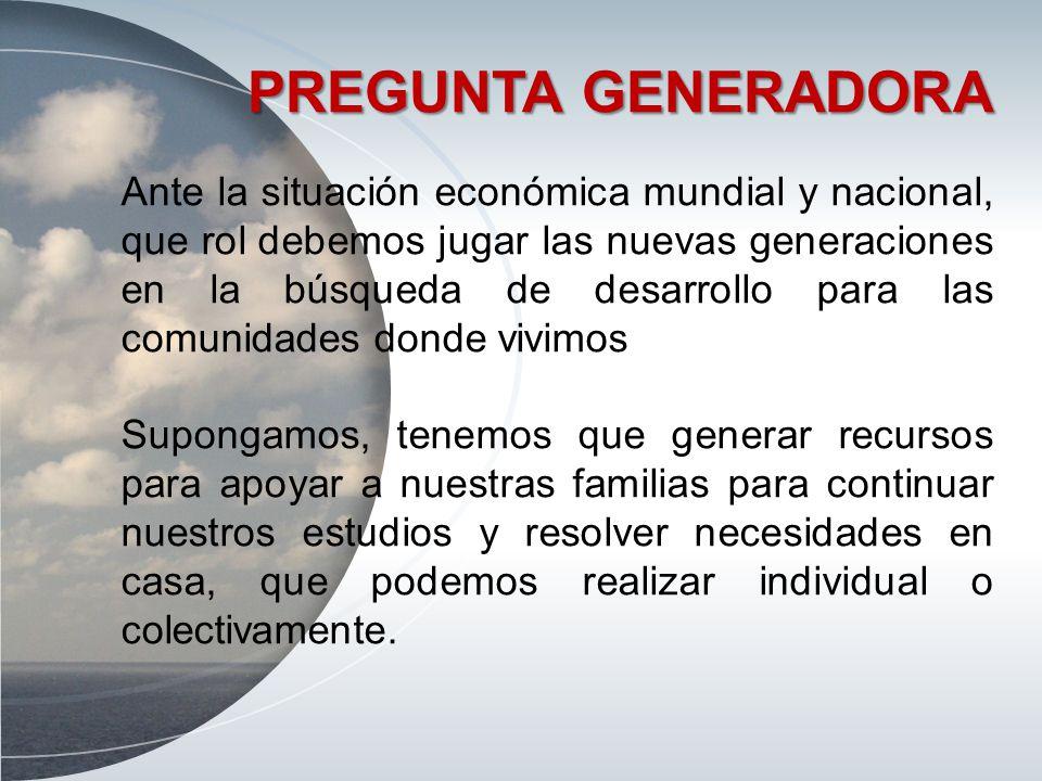PREGUNTA GENERADORA Ante la situación económica mundial y nacional, que rol debemos jugar las nuevas generaciones en la búsqueda de desarrollo para la