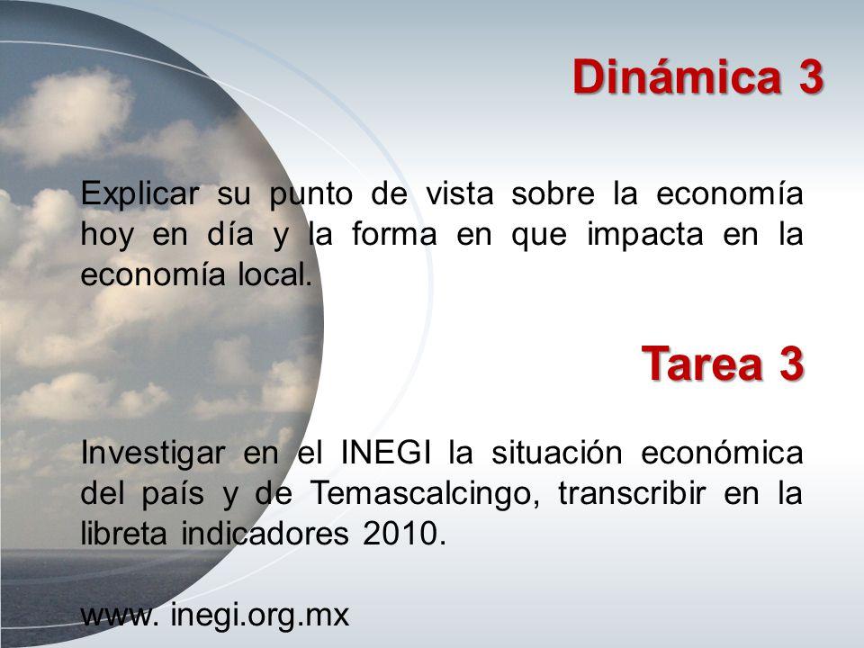 Dinámica 3 Explicar su punto de vista sobre la economía hoy en día y la forma en que impacta en la economía local. Tarea 3 Investigar en el INEGI la s