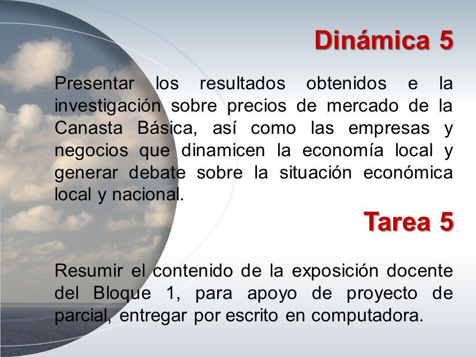 Dinámica 5 Presentar los resultados obtenidos e la investigación sobre precios de mercado de la Canasta Básica, así como las empresas y negocios que d
