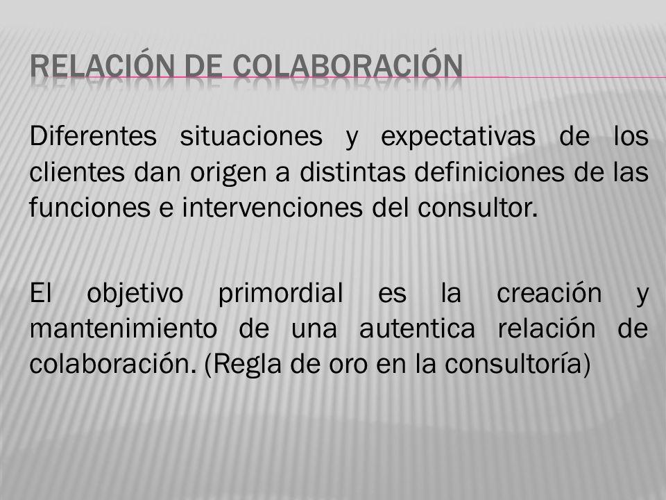 Debe imperar siempre un fuerte espíritu de colaboración caracterizado por un deseo compartido de que gracias a la confianza y el respeto mutuo y comprensión de los papeles técnicos y humanos la tarea de consultoría tiene éxito.