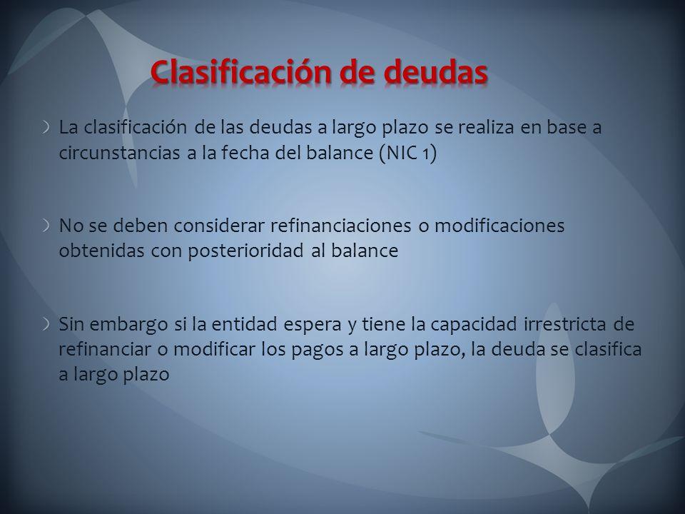 La clasificación de las deudas a largo plazo se realiza en base a circunstancias a la fecha del balance (NIC 1) No se deben considerar refinanciacione