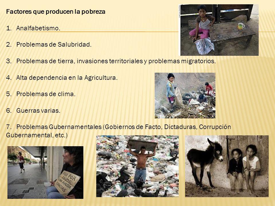 Factores que producen la pobreza 1.Analfabetismo. 2.Problemas de Salubridad. 3.Problemas de tierra, invasiones territoriales y problemas migratorios.