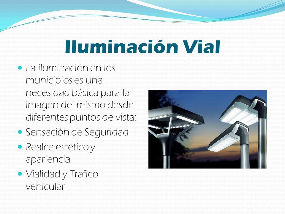 Principales problemas del Alumbrado Público Alto consumo de energía Bajo nivel de iluminación Alto costo de mantenimiento Mantenimiento continuo Iluminación intermitente Diferentes tipos de luz Mala colocación de luminarias Mala selección de luminarias