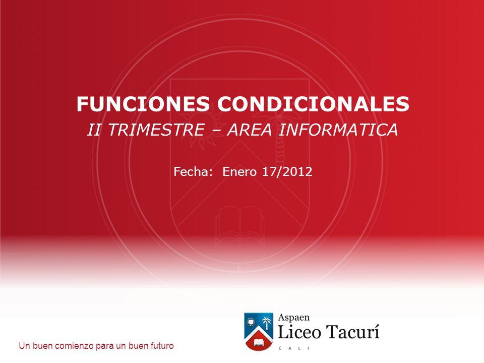 Un buen comienzo para un buen futuro FUNCIONES CONDICIONALES II TRIMESTRE – AREA INFORMATICA Fecha: Enero 17/2012