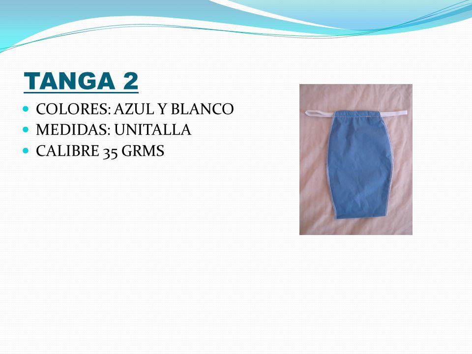 TOP ABIERTO COLORES: AZUL Y BLANCO MEDIDAS: UNITALLA CALIBRE 35 GRMS