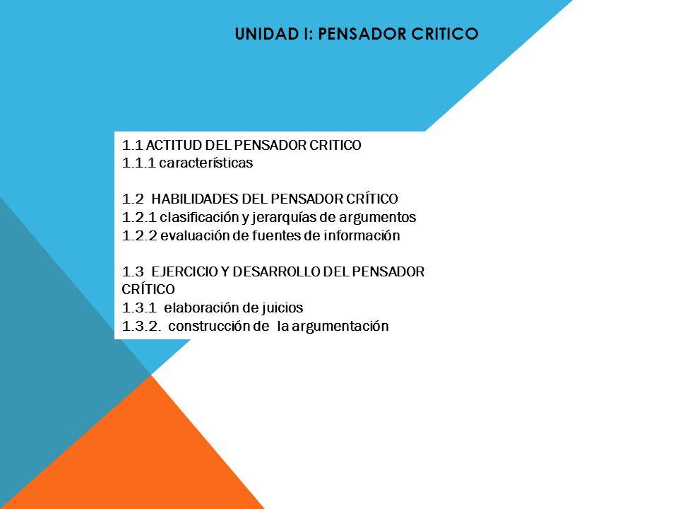 UNIDAD I: PENSADOR CRITICO 1.1 ACTITUD DEL PENSADOR CRITICO 1.1.1 características 1.2 HABILIDADES DEL PENSADOR CRÍTICO 1.2.1 clasificación y jerarquía